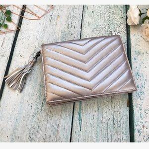 Nieman Marcus clutch metallic pink rose gold purse